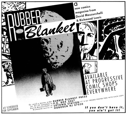 Promotional ad for Rubber Blanket #1 by David Mazzucchelli and Richmond Lewis, 1992.