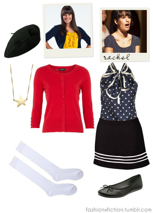 "Fashion inspired by Rachel Berry from Glee. A high-school Spanish teacher becomes the director of the school's Glee club, hoping to restore it to its former glory. Rachel is a very driven and ambitious young woman. Rachel is typically very competitive and often flaunts her ""diva"" behavior by always demanding the spotlight and being the center of attention due to her dream of going to Broadway. However, on numerous occasions, Rachel has shown that she is slowly becoming more considerate and supportive towards the other members of New Directions. http://www.imdb.com/title/tt1327801/"