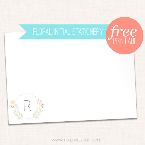 Free Floral Stationery | The Lovely Dept. Everyone should have stationery - you never know when you will need to write a thank you note, a quick hello or a 'stop your dog pooping on my lawn or it's go time' note. This sweet set is customisable (add your initial) or go for the blank version if you wish to remain… anonymous.