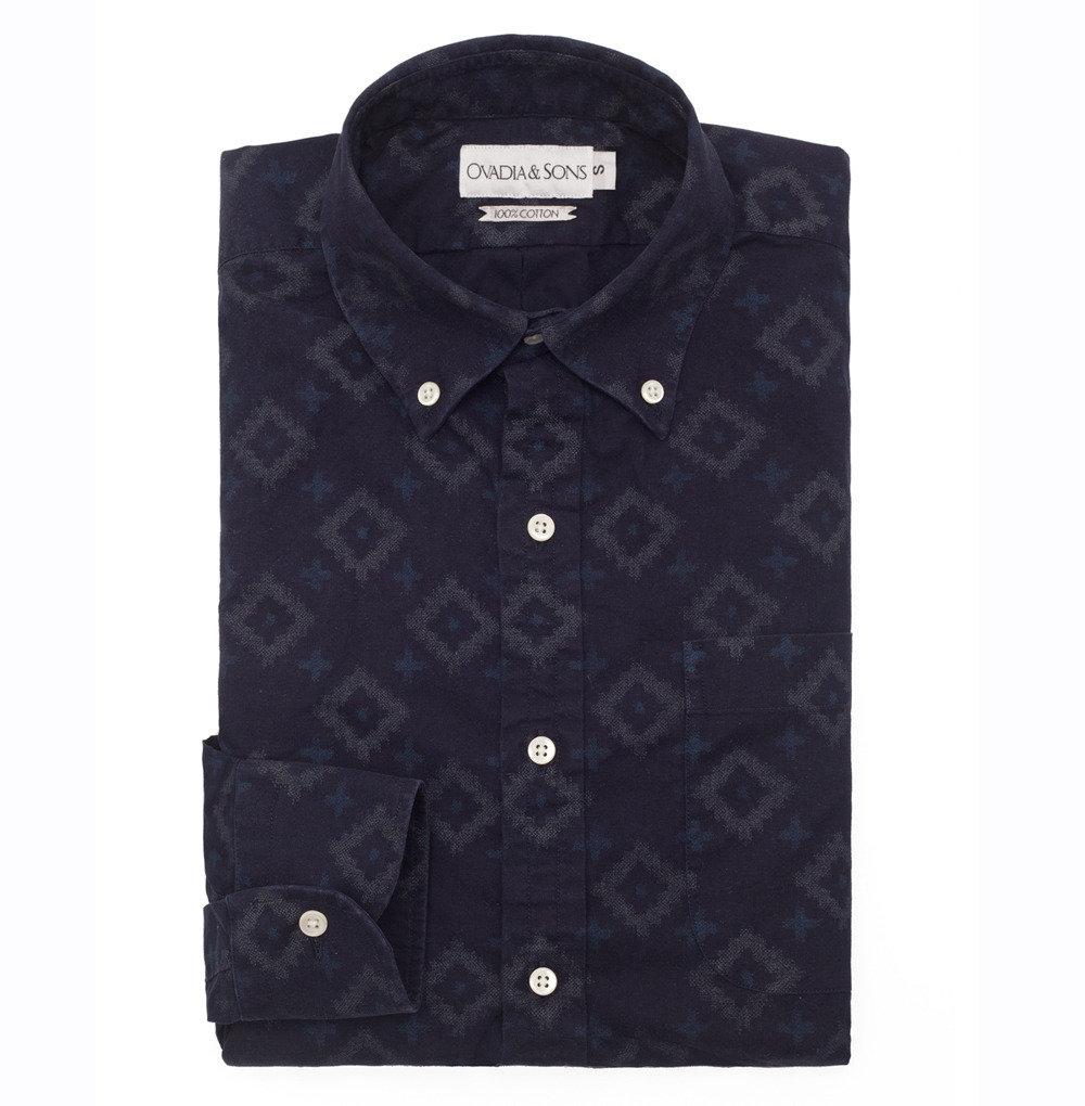 gaws:  Midwood Indigo Ikat shirt via Ovadia & Sons - authentic hand dyed Japanese indigo fabric with hand transferred print. This is probably the most beautiful shirt I've seen in a minute.