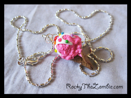 Strawberry Ice Cream necklace from Rocky the Zombie, On ebay.