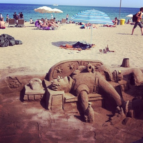 Homer sand castle (Taken with Instagram at Platja de Sant Miquel)