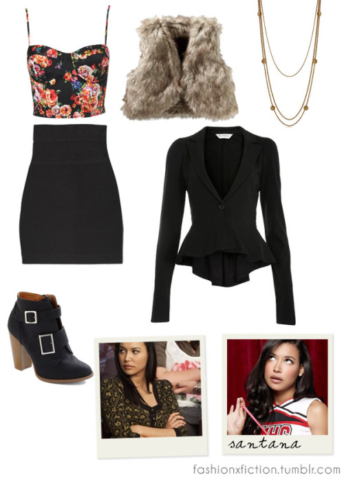 Fashion inspired by Santana Lopez from Glee. A high-school Spanish teacher becomes the director of the school's Glee club, hoping to restore it to its former glory. Brittany is seen as a stereotypical bitchy cheerleader who remarks on her cruel attitude. It is later revealed that the motivations behind Santana's antagonism and her sexual aggressiveness towards boys is due to the fact that she is struggling with her romantic feelings towards Brittany. http://www.imdb.com/title/tt1327801/
