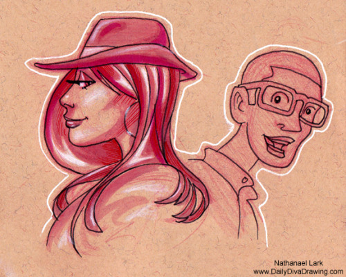 "Day 243: Who's that girl? (part 2) One of the most enjoyable parts of sketching in public is watching people's reactions to each other. This follow up to my rough sketch goes out to all you women out there who either know or don't know about the fan club of men you leave behind you. This also goes out to all the guys in those fan clubs. I feel you, fellas. Those gorgeous gals can really take your breath away sometimes. Happy Sunday! Daily Diva Drawing - ""Everyday is Better With a Triple D!"" NLarkArt@gmail.com"
