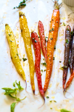 nommtastic:  roasted rainbow carrots two ways: sweet & savory from Family Fresh Cooking