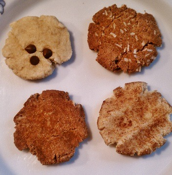 THE GREAT COOKIE EXPERIMENT!! ((ROUND ONE))  I hope to try ALL different types of cookies now. This base worked just great for me. My favorite was chocolate chip, wait the snicker-doodle, too hard to pick, they all have their redeeming qualities. I hope to experiment with more soon!!  Chocolate Chip: 2 TBSP 'BOB'S RED MILL' coconut flour 2 TBSP ripe mashed organic banana 1/8 TSP baking soda 1/2 TBSP pure maple syrup 2 TBSP 'SO DELICIOUS - UNSWEETENED' coconut milk chocolate chips 'ENJOY LIFE FOODS'  Combine first four ingredients. Mix well. Add milk 1 TBSP at a time. Roll SIX balls of dough and flatten on the greased cookie sheet. Add chips on top before baking at 350 for 10-13 minutes or until the bottoms are brown.  Snicker-doodle:(Use base above)  - add to dough: 1/8 TSP cream of tartar 1/4 TSP organic brown sugar- Roll dough balls in:  1/2 TBSP cinnamon 1/2 TBSP organic brown sugar  Chocolate:(use base above) - add to dough: 1/2 TBSP cacao 1/2 TBSP coconut milk   Chocolate Coconut:(use base above)  - add to dough: 1/2 TBSP cacao 1 TBSP coconut flakes  1 TBSP coconut milk  (adapted from Foodie Fiasco)
