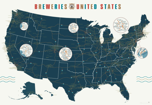 The Twin Cities area has so many local breweries that we got our own bubble!  This makes us happy. popchartlab:  With 1,000 breweries mapped over 7 square feet, your summer road trip just planned itself.