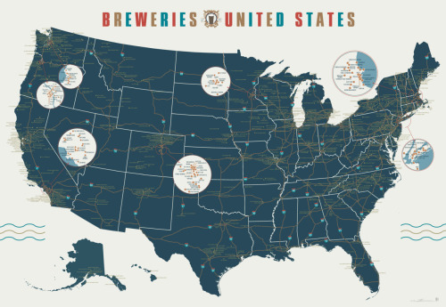 With 1,000 breweries mapped over 7 square feet, your summer road trip just planned itself. Get The Breweries of the United States now. UPDATE: Based on your feedback, we've made a TON of additions. The new version has now been posted.