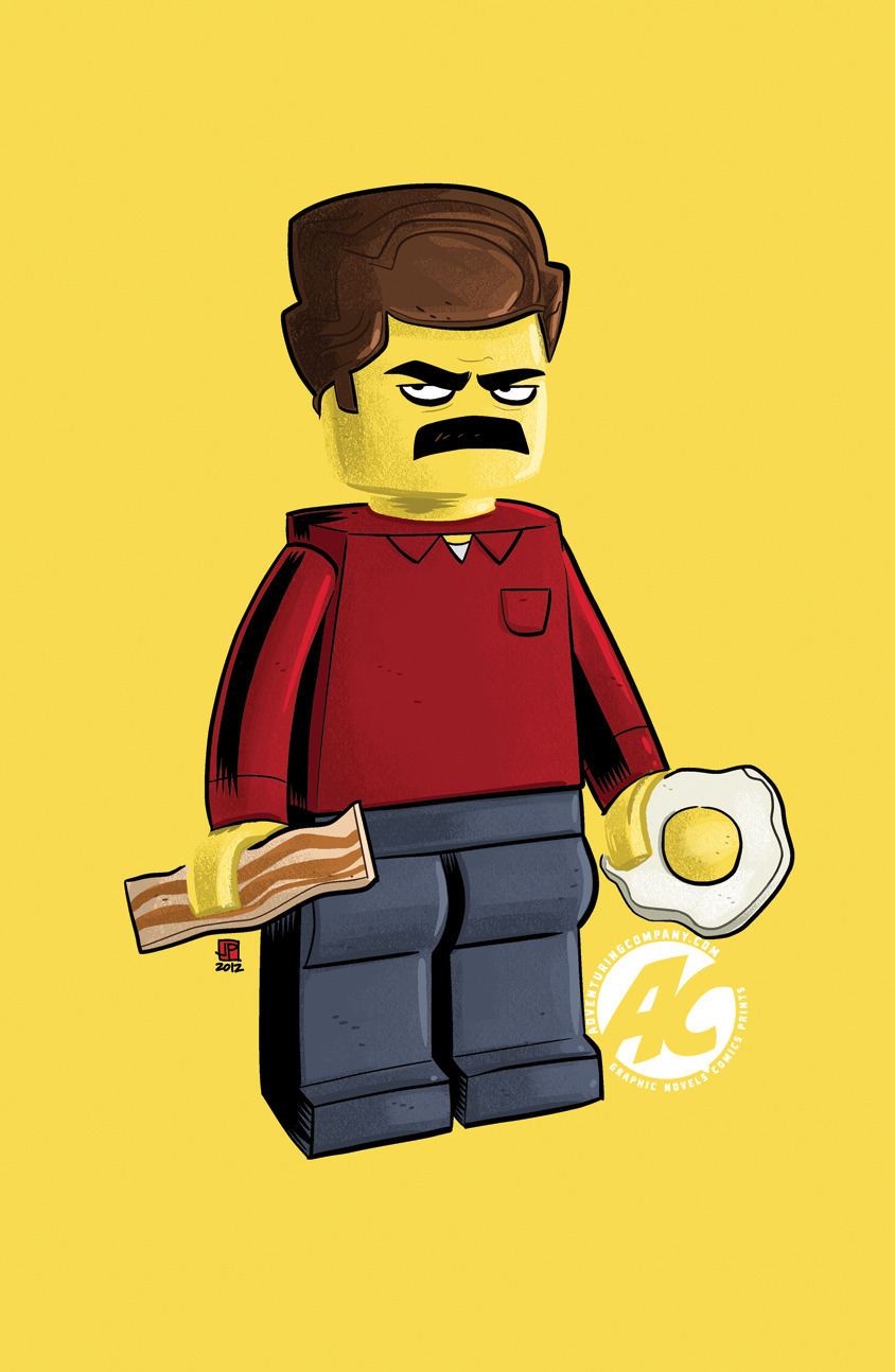 "adventuringcompany:  Lego Ron by Justin Peterson 11""x17"" matte print on 100 lb. stock. $10. Add to Cart"