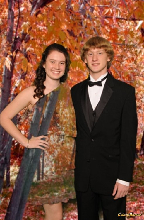 Girl Wears Green Dress in front of Green Screen at Prom I really feel like I'm one with nature.