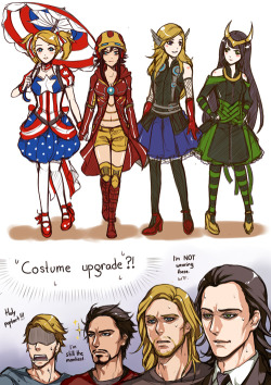 "freakxwannaxbe:  pinkstripedmellon:  A while ago I designed simple Avengers-themed loli costumes for cosplay project. My friends' reactions were like, ""Imagine if these dresses are their actual costume upgrade~! Tony is the only one wearing pants LOL""  I'm not sure even if I can draw these gorgeous men in loli costume. But maybe I will. >:D Hulk and Mr. Hawkward? Later, baby <3  one day I will cosplay that loli loki outfit just watch me"