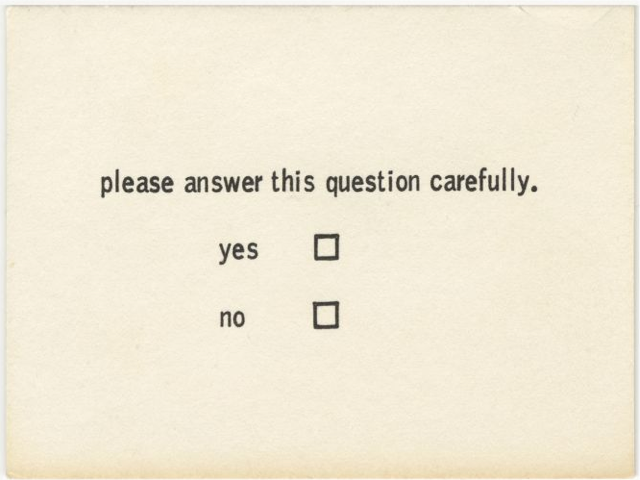 Benjamin Patterson Questionnaire from Flux Year Box 2. c.1968