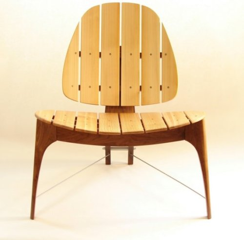 Walnut, cedar, and stainless steel chair / designed and made by Todd Fillingham