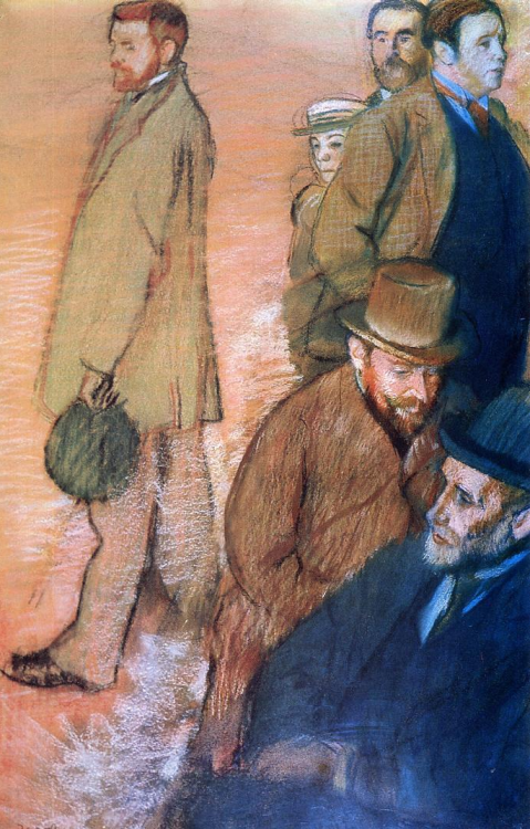 artemisdreaming:  Six Friends of the Artist , 1885 Edgar Degas Large image:  HERE . The pastel by Degas is impressive in its unusual composition as well as its size. Drawn from life, the men (and one boy) are scattered about informally, like band members on an album cover. Standing apart at the left is the full-length figure of — no, not Degas, but British artist Walter Sickert. Degas met him two years before when Sickert was an apprentice to James McNeil Whistler. He is facing away from the other five who are crowded at the right, and anchored by a dignified seated figure that echoes the standing man's gaze. He is Albert Boulanger-Cavé, who briefly and reluctantly had served as censor of public spectacles for the ministry of fine art. Facing him, as though in conversation, is a friend whom Dégas years earlier had painted chatting with against a ballet stage set, the realist artist Henri Gervex. Standing commandingly above him is Jacques-Émile Blanche, a writer, musician, and artist who had studied under Gervex, and in whose studio this assembly is being drawn. Behind him is Degas's host in Dieppe, Ludovic Halévy, a successful writer of libretto with whom the artist shared a love of theater. Degas was thoughtful enough to have peeking out below him Halévy's son Daniel, then nearly 13, who much enjoyed the attention of the artist and who would, in his 80s, write a biography of him (Degas parle, 1960)… Contributions by these men help fill out a snapshot of the time… via: providencephoenix.com - Bill Rodriguez, Illuminating from within, The RISD Museum's 'Edgar Degas: Six Friends at Dieppe'
