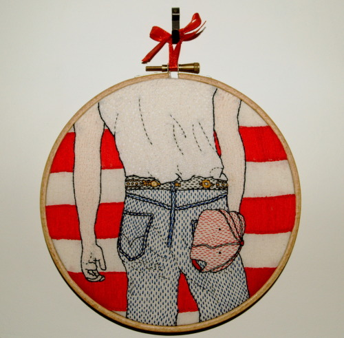 lucymcgann:  Bruce Springsteen - Born In the USA embroidered hoop piece is for sale over here.