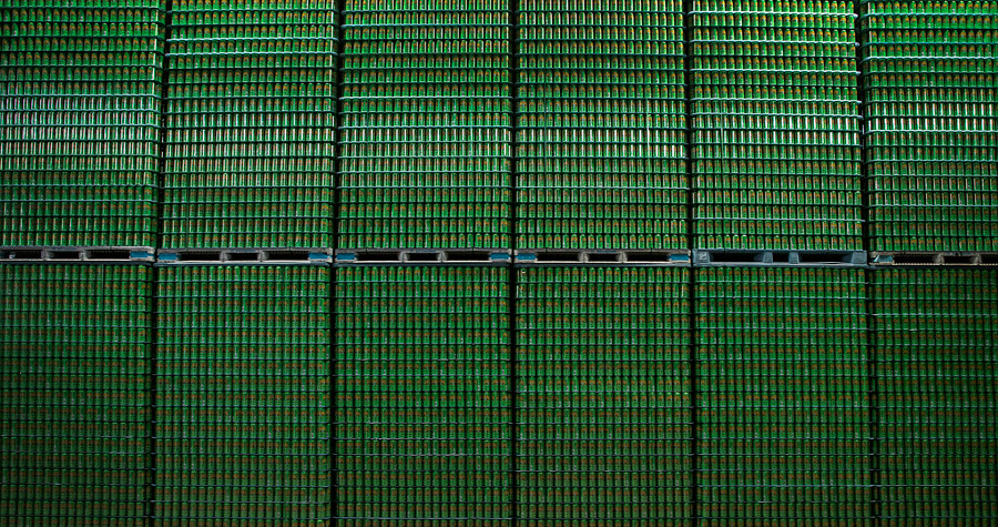 Stacks of empty Pale Ale cans wait to be filled at the Sierra Nevada Brewing Co. facility in Chico, California, on May 23. Photographer: Ken James/Bloomberg