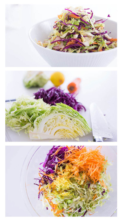 Try a healthier alternative with this no-mayo coleslaw recipe with lemon juice and honey for extra flavor.   No-Mayo Coleslaw Recipe | Fresh Tastes Blog | Marc Matsumoto