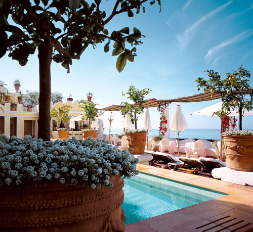 ysvoice:   | ♕ |  Poolside terrace - Le Sirenuse in Positano  | by © Travelive