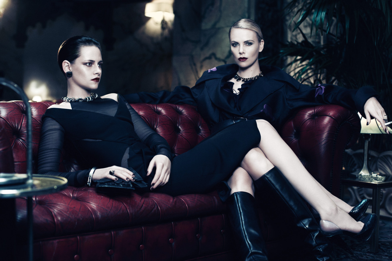 glossynewsstand:  INTERVIEW JUNE/JULY 2012Charlize Theron & Kristen Stewart Photographer: Mikael JanssonStylist: Karl Templer