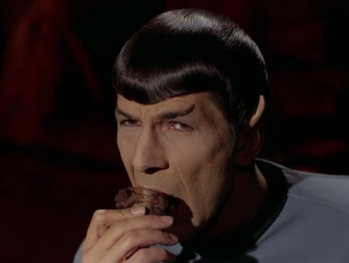 Spock is no stranger to shoving meat in his mouth despite his claims to the contrary.