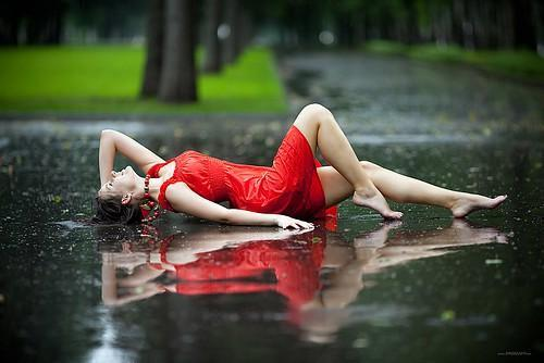 Red Dress in the Rain