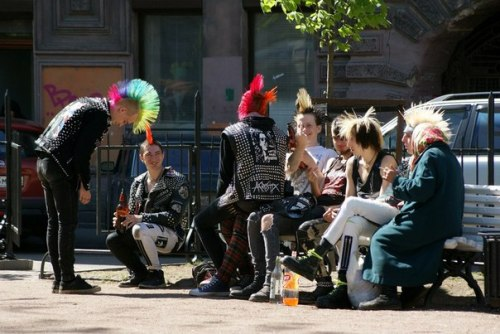 Saint- Petersburg, Russia punks and granny