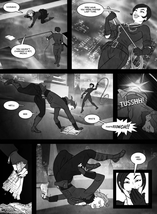 nocturnecity:  The latest page of my dieselpunk online comic, Strange Aeons. In this page, Michelle goes for broke… and gets busted. Strange Aeons is a tale of Nazis, private eyes, corrupt cops, beautiful dames, and eldritch Cthulhoid terrors from beyond the stars, all set to a glamourous, Art Deco, retro-futuristic dieselpunk style. It updates irregularly.  New Strange Aeons page! (my inks, the rest is JR's fantastic artistry!)