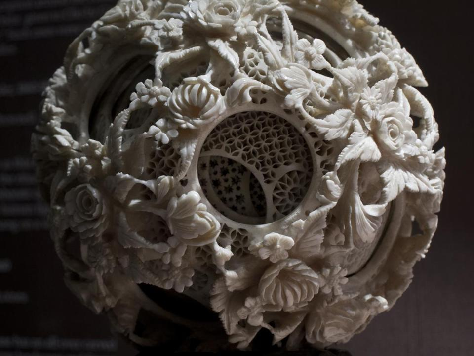 "FRAME BY FRAME Chinese ivory gone berserk - ""Concentric Spheres,"" on display at Peabody Essex Museum in Salem, is marvelous, but conjures a feeling of head-scratching, eye-rubbing dismay. (COURTESY PEABODY ESSEX MUSEUM/CHIP VAN DYKE)"