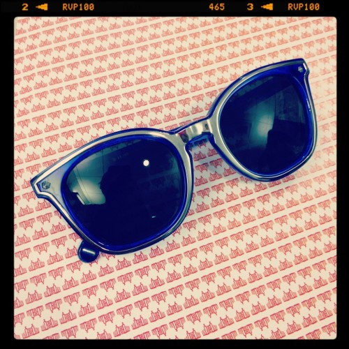 Blue Rebecca Minkoff sunglasses spotted today by fashion editor Rachael Wang.