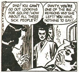Panel from Ray Bailey's Bruce Gentry (1949) - right after Gentry's new wife leaves him because he first chose to save a small family from dying of the flu rather than go on a vacation with her.