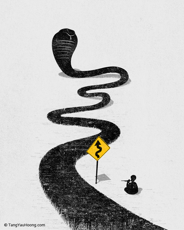 tangyauhoong:  The Snake Charmer. Tang Yau Hoong: Web | Shop | Facebook | Tumblr | Twitter | Behance
