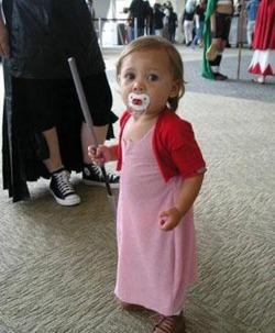 Baby Aerith Gainsborough from Final Fantasy VII OMG! She is so CUTE!!!! With the pacifier and the little staff, AHHHH! I just died :) PART OF COSPLAY TUESDAY!