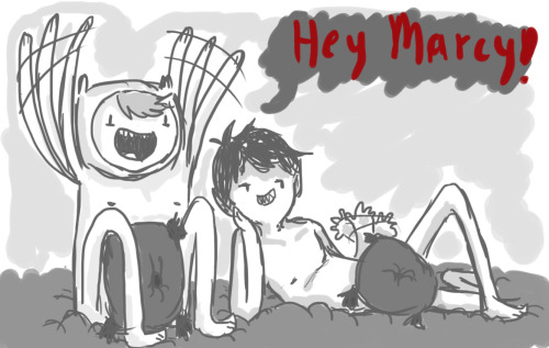marceline-your-vampire-queen:  finn-theheroguy:  (( Marsh n' me just had an awesome RP. XD HAHAHAHA. This is for him and Marcy, who is the cause of all this mess. Hehehehe.))   uhm…