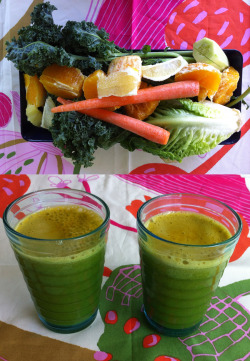greenjuiceday:  Green Tuesday Here's to another great green juice day! This easy to drink green juice features everyday ingredients, from kale and roman lettuce to orange and lemon juice. The recipe for two follows as: 1 kale 1 large roman lettuce 2 carrorts 1/2 cucumber 2 oranges, peeled 1 lemon, peeled Juice the produce in a juicer in any preferred order. Add ice if available. Works well as a breakfast green juice due to the high concentration of orange juice. Enjoy your day!