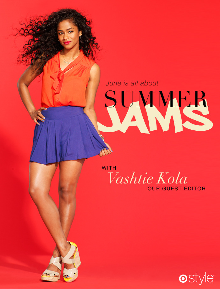 June is all about… Summer Jams with Vashtie Kola. own it now: necktie top. skirt. wedges.