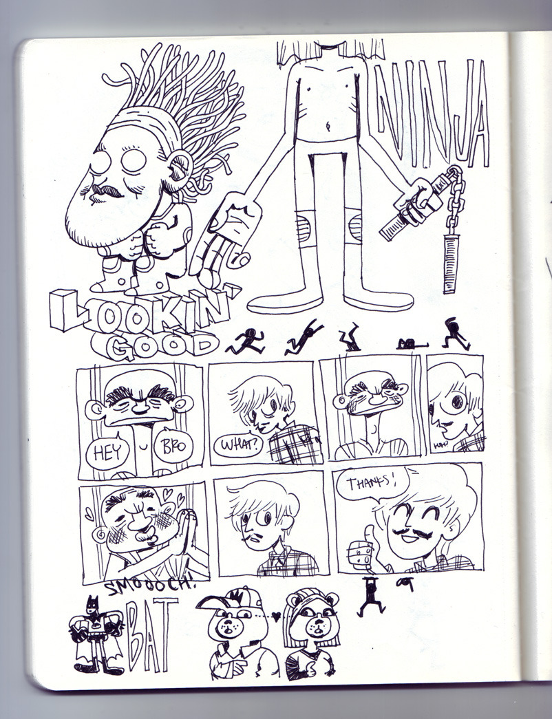 Notebook sketches. I made a little comic on this one. The old guy is a character in the first volume of Buddha by Osamu Tezuka.