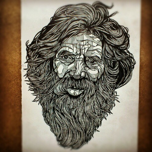 lukedixonart:  Finally finished. Alot of detail in the beard….  www.dukelixon.co.uk // www.thebearhug.com