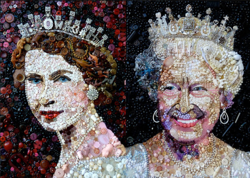 royalwatcher:  Artist Jane Perkins has created three portraits of the Queen made from discarded pieces of rubbish. The triptych depicts the monarch in three stages of life: during her Coronation, Silver Jubilee and the Diamond Jubilee. Two of the portraits are seen above.Picture: Jane Perkins / Devon Open Studios