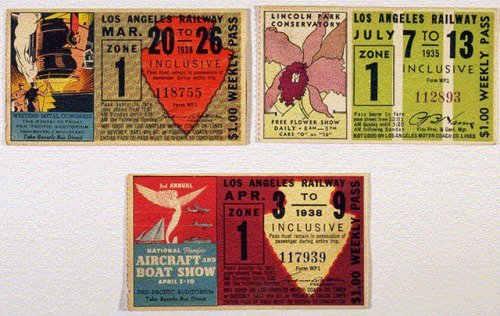 Examples of Los Angeles Railway (LARy) weekly passes, 1935 & 1938 on Flickr. Los Angeles Railway weekly passes from 1935 and 1938.