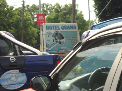 "The Obama Effect Hotel Obama signboard near ""America House"", East Legon, Accra 2011"