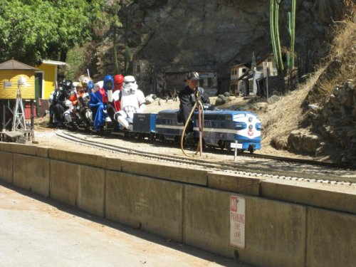 Star Wars Characters Riding Tiny Train A long time ago in an ol' minin' town far, far away….