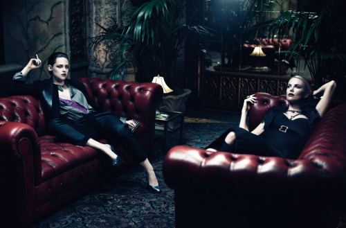 suicideblonde:  Kristen Stewart and Charlize Theron photographed by Mikael Jansson for Interview June/July 2012