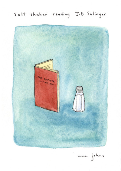 Salt shaker reading J.D. Salinger (via Marc Johns: objects reading books)