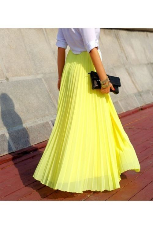couturecourier:  Pleated maxi skirt, and neon! I die. (via theBERRY)