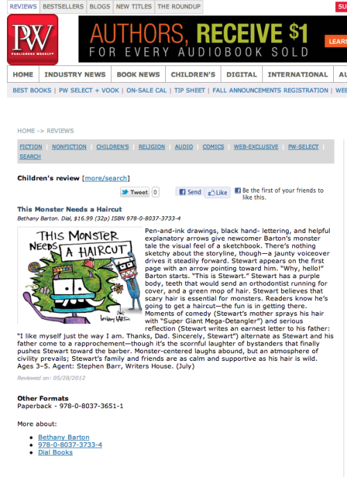 An awesome review of my debut picture book from Publisher's Weekly?! Woo hoo! #SoExcited #DoingAHappyDance