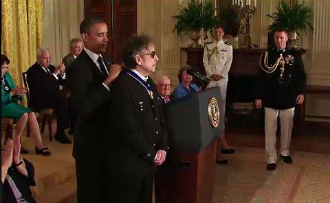 "President Obama awards Bob Dylan the Presidential Medal of Freedom, ""our Nation's highest civilian honor, presented to individuals who have made especially meritorious contributions to the security or national interests of the United States, to world peace, or to cultural or other significant public or private endeavors."""