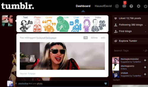 I'm in love with my Avengers + Lady Gaga tumblr theme. :)