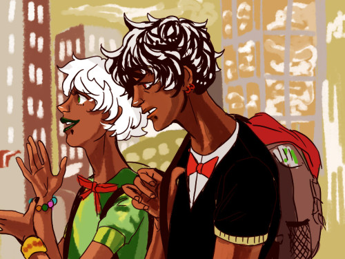 zebeck:  so uh possible humanstuck UU and uu?? i might poke them around later but uh…..yeah…. i'm thinking they lived in puerto rico before moving all the way to texas (OBV REASONS ON MY PART I'M SORRY HAHA) and even though they speak english almost perfectly they still slip some spanish here and there esp when upset (ESP uu, he almost always swears in spanish hahaha) also can you tell what i did to UU's bracelet? :3c ofc you can hehhe