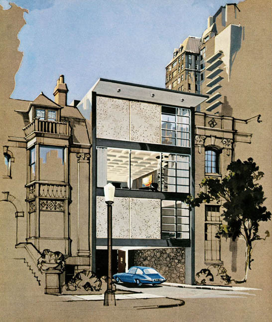 wandrlust:  The Playboy Townhouse (1962) (Design by R. Donald Jaye and rendering by Humen Tan)