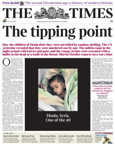 Front page of The Times (UK), May 30, 2012